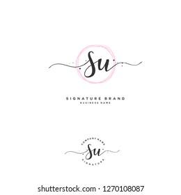 R U RU Initial letter handwriting and  signature logo.