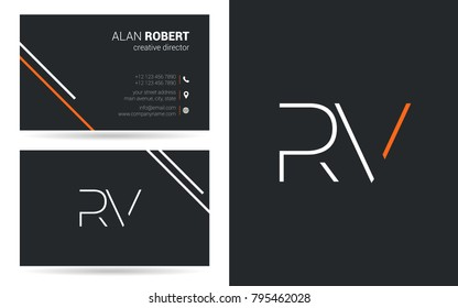 R & V joint logo stroke letter design with business card template