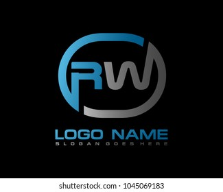 R W Initial circle logo template vector