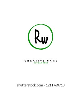 R W RW Initial abstract logo concept vector