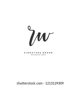 R W RW Initial letter handwriting and  signature logo concept design