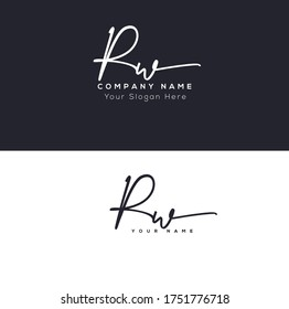 R W RW Initial letter handwriting and signature logo.