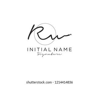 R W Signature initial logo template vector