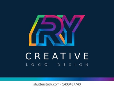 R Y Logo. RY Letter Design Vector with Magenta blue and green yellow color