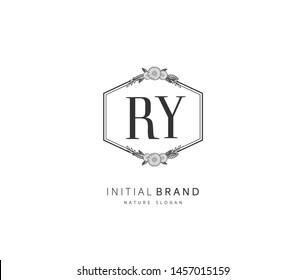 R Y RY Beauty vector initial logo, handwriting logo of initial signature, wedding, fashion, jewerly, boutique, floral and botanical with creative template for any company or business.