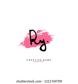 R Y RY Initial abstract logo concept vector