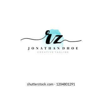 R Z RZ Initial watercolor logo on white background. Logo template vector