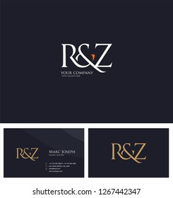 R & Z, RZ letters Joint logo icon and Business card vector template.