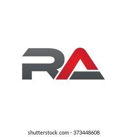RA company linked letter logo black red