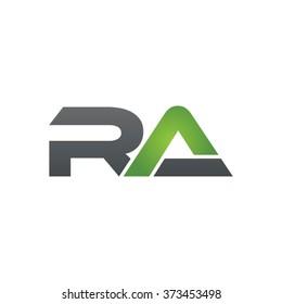 RA company linked letter logo black green