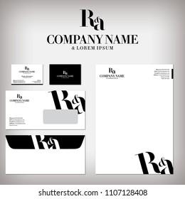 RA Company logo design, branding and stationery design set