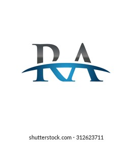 RA initial company blue swoosh logo