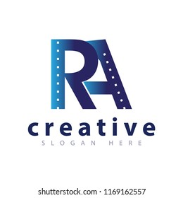 RA initial letter road logo icon vector template