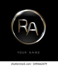 RA initial letters with circle elegant logo golden silver black background