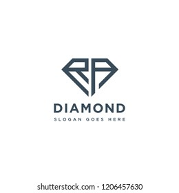 RA Initial Letters Logo Design with Diamond Shape for Jewelry Company Store