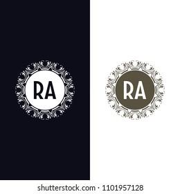 RA initial logo. Luxury ornament crown logo