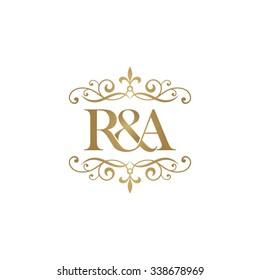 R&A Initial logo. Ornament ampersand monogram golden logo