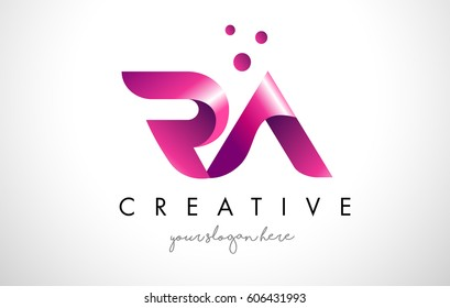 RA Letter Logo Design Template with Purple Colors and Dots