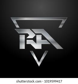 RA Logo, Metal Logo, Silver Logo, Monogram, Polygon