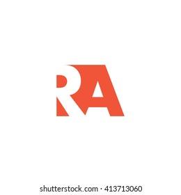 RA Logo. Vector Graphic Branding Letter Element. White Background