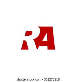 RA negative space letter logo red