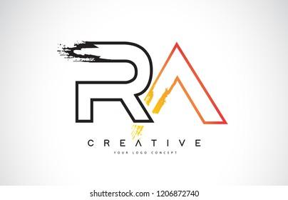 RA R A  Creative Modern Logo Design Vetor with Orange and Black Colors. Monogram Stroke Letter Design.