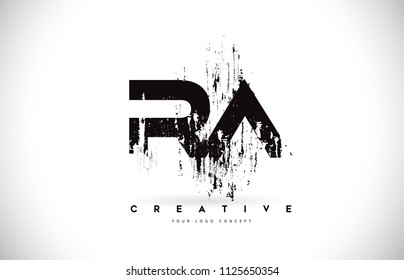 RA R A Grunge Brush Letter Logo Design in Black Colors. Creative Brush Letters Vector Illustration.