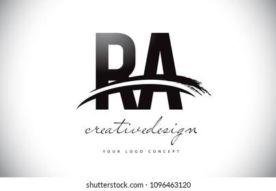 RA R A Letter Logo Design with Swoosh and Black Brush Stroke. Modern Creative Brush Stroke Letters Vector Logo