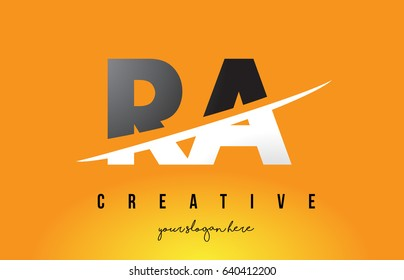 RA R Q Letter Modern Logo Design with Swoosh Cutting the Middle Letters and Yellow Background.