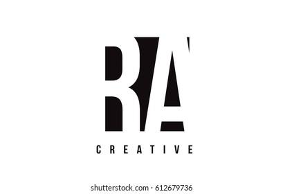 RA R Q White Letter Logo Design with Black Square Vector Illustration Template.