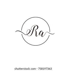 Ra script logo flat vector template