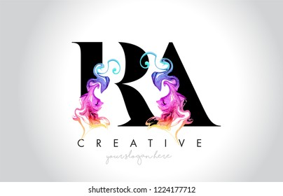 RA Vibrant Creative Leter Logo Design with Colorful Smoke Ink Flowing Vector Illustration.