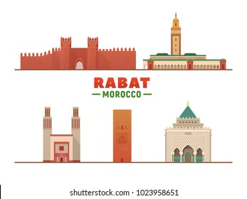 Rabat Morocco city landmarks in white background. Vector Illustration. Business travel and tourism concept with modern buildings. Image for presentation, banner, placard and web site.
