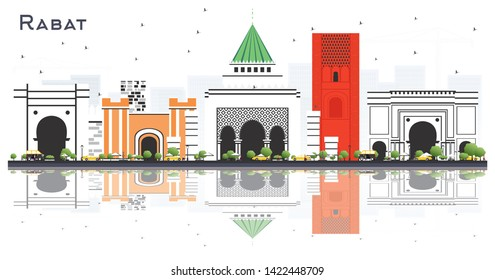 Rabat Morocco City Skyline with Gray Buildings and Reflections Isolated on White. Vector Illustration. Business Travel and Tourism Concept with Modern Architecture. Rabat Cityscape with Landmarks.