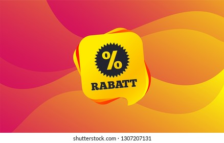 Rabatt - Discounts in German sign icon. Star with percentage symbol. Wave background. Abstract shopping banner. Template for design. Vector