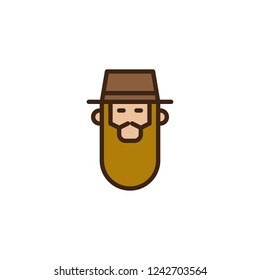 Rabbi head filled outline icon, line vector sign, linear colorful pictogram isolated on white. Bearded Jew rabbi with a hat symbol, logo illustration. Pixel perfect vector graphics
