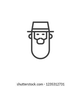 Rabbi head outline icon. linear style sign for mobile concept and web design. Bearded Jew rabbi with a hat simple line vector icon. Symbol, logo illustration. Pixel perfect vector graphics