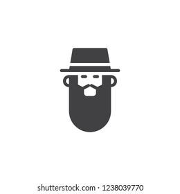 Rabbi head vector icon. filled flat sign for mobile concept and web design. Bearded Jew rabbi with a hat simple solid icon. Symbol, logo illustration. Pixel perfect vector graphics