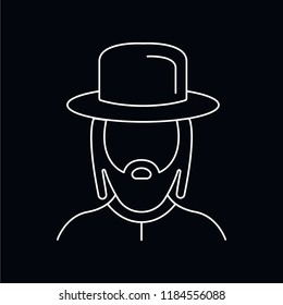 Rabbi icon. Outline illustration of Rabbi vector icon for web and advertising isolated on black background. Element of culture and traditions