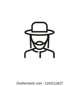 Rabbi line icon. Jew, Jewish costume, Jewish community. Israel concept. Vector illustration can be used for topics like Judaism, national culture, traditional costume