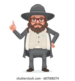 Rabbi payot beard traditional jewish costume hold dreidel in hand cartoon character vector design illustration
