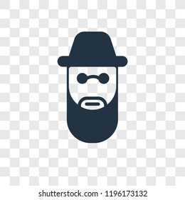 Rabbi vector icon isolated on transparent background, Rabbi transparency logo concept