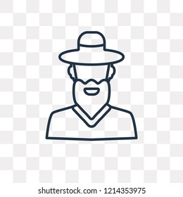Rabbi vector outline icon isolated on transparent background, high quality linear Rabbi transparency concept can be used web and mobile