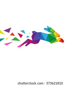 Rabbit abstract triangle design concept element isolated on a white backgrounds, vector illustration