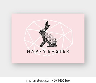 Rabbit abstract triangle.Hand drawn lettering Happy Easter. Text template sketch design postcard. Vector illustration.