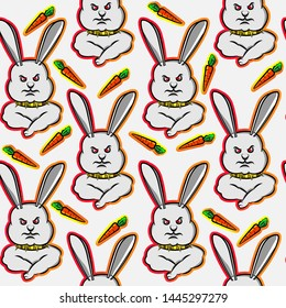 rabbit angry expression, funny cute bunny with gold necklace carrot, cartoon seamless pattern, can be used for t-shirt print, kids wear fashion design, fabric, web, wallpaper and all other uses