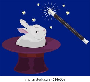 A rabbit appearing out of a tophat and a magic wand