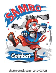 Rabbit athlete in a red hat, shorts and a blue kimono in a combat stance. Combat Sambo. Vector illustration.
