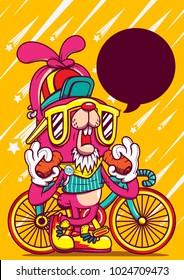 rabbit bike cartoon character design graphic