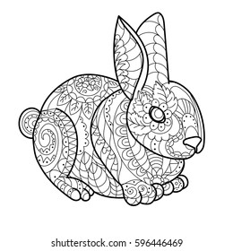 Royalty Free Stock Illustration of Rabbit Line Coloring Book ...